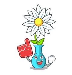 foam finger mascot beautiful flower in vase vector image