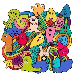 Funny monsters graffiti Hand drawn sketch art vector