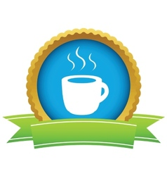 Gold cup of coffee logo vector