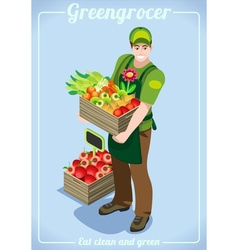 Greengrocer Services People Isometric vector image