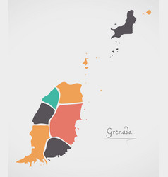 Grenada map with states and modern round shapes vector