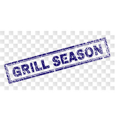 Grunge grill season rectangle stamp vector