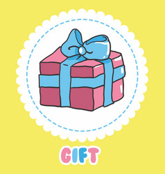 hand draw gift icon pink present box with vector image