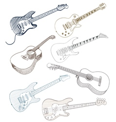 hand drawn guitars vector image