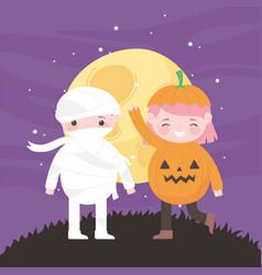 happy halloween pumpkin and mummy costumes night vector image