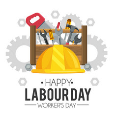 Helmet with construction box tools to labour day vector