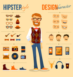 hipster character pack vector image