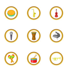 instrument icons set cartoon style vector image