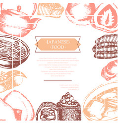 japanese food - color hand drawn card vector image