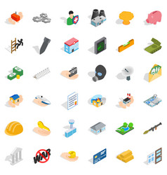 joint stock company icons set isometric style vector image