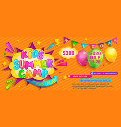 kids summer camp flyer fun and play time vector image