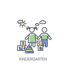 Kindergarten rgb color icon vector