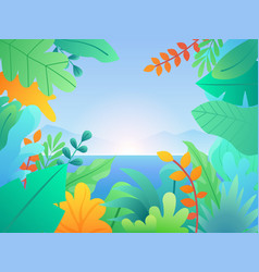 landscape with leaves and plants floral vector image