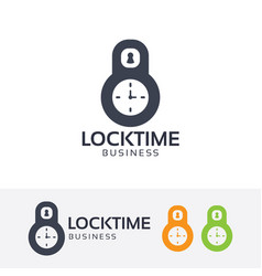 lock time logo design vector image