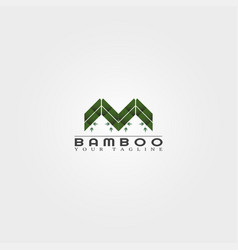 M letter bamboo logo template creative design for vector