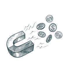 Magnet attracts money business finance concept vector