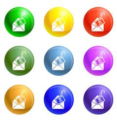 Mail phishing icons set vector