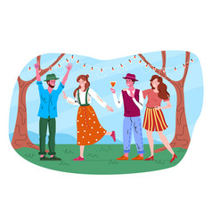 male and female friends are throwing retro garden vector image