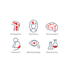 Medical specialization symbols set orthopedics vector