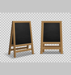 menu announcement board realistic black wooden vector image