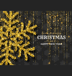 Merry christmas background with shiny golden vector
