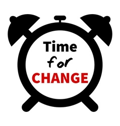 Minimalistic clock with time for change text vector image