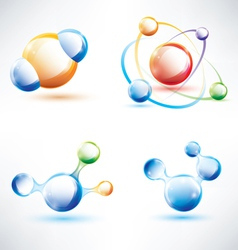 molecule structure abstract glossy icons set vector image