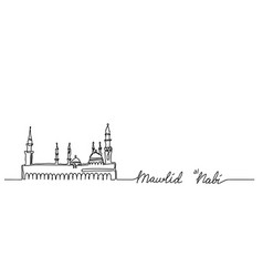 Mosque nabawi outline one continuous line drawing vector