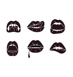Mouth with different expressions vector