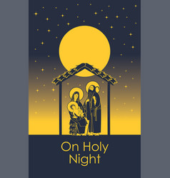 Nativity scene holy family and christmas star vector