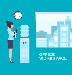 Office life banner with woman near water cooler vector