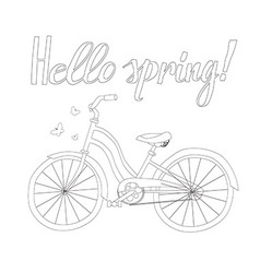 Outline of a Bicycle with the words Hello Spring vector image