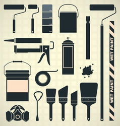 Painting Supplies Silhouettes and Icons vector
