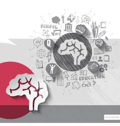 Paper and hand drawn brain emblem with icons vector image
