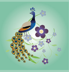 Peacock with flowers vector