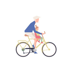 person with child is riding a bicycle vector image