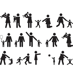 Pictograph people with kids vector