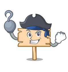 Pirate wooden board character cartoon vector