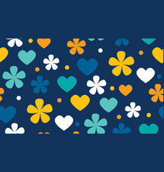 Polka dot floral and hearts seamless pattern vector