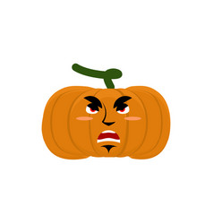pumpkin evil angry emoji halloween vegetable vector image