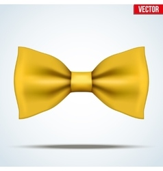 Realistic yellow bow tie vector image