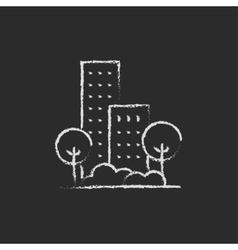 Residential building with trees icon drawn in vector