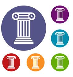 Roman column icons set vector