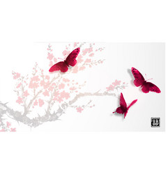 sakura in blossom and three big red butterflies vector image
