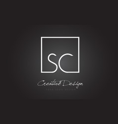 Sc square frame letter logo design with black and vector
