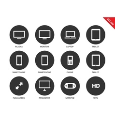 Screen icons on white background vector image