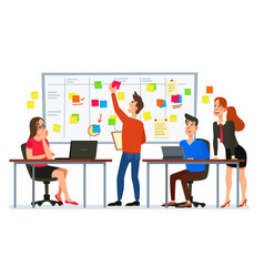 scrum board meeting business team planning tasks vector image