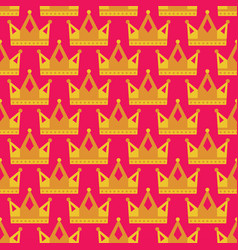 seamless gold crown pattern background bright pink vector image