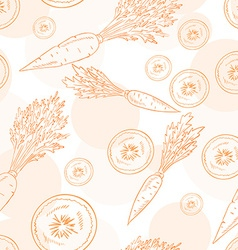 seamless pattern with carrot and its slice vector image