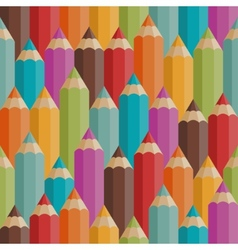 Seamless pattern with colored pencils in retro vector image